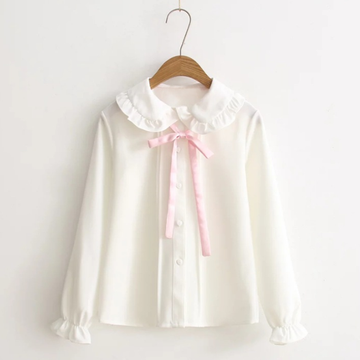 Modakawa Shirt M Bowknot Ribbon Doll Collar Blouse