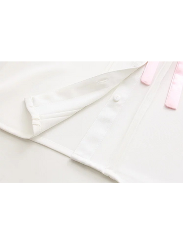 Modakawa Shirt M Chiffon Tie Doll Collar Shirt