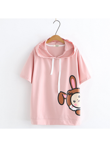 Modakawa Shirt Pink Cartoon Short Sleeve Hoodie