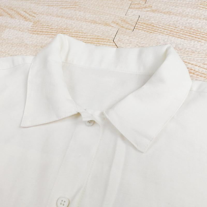 Modakawa Shirt Pure Color Irregular Pocket Shirt