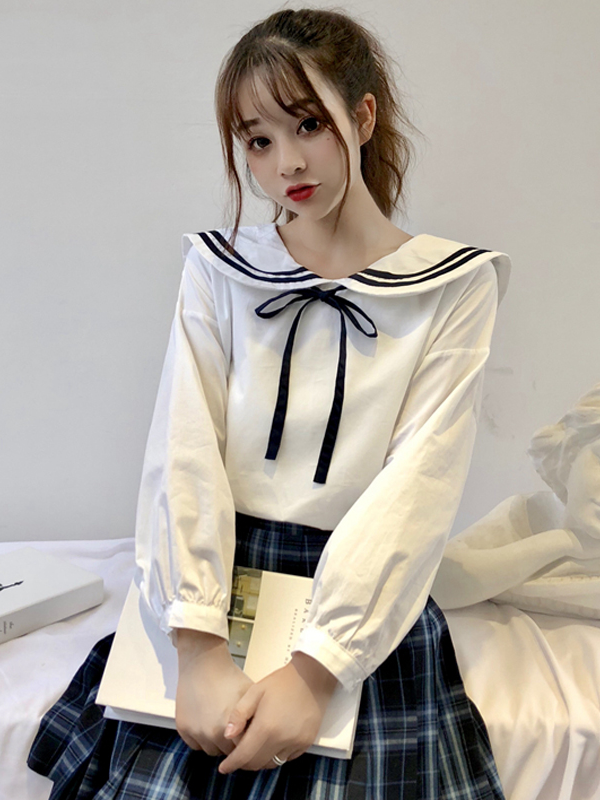 Modakawa Shirt School Girl Navy Collar Lacing Shirt
