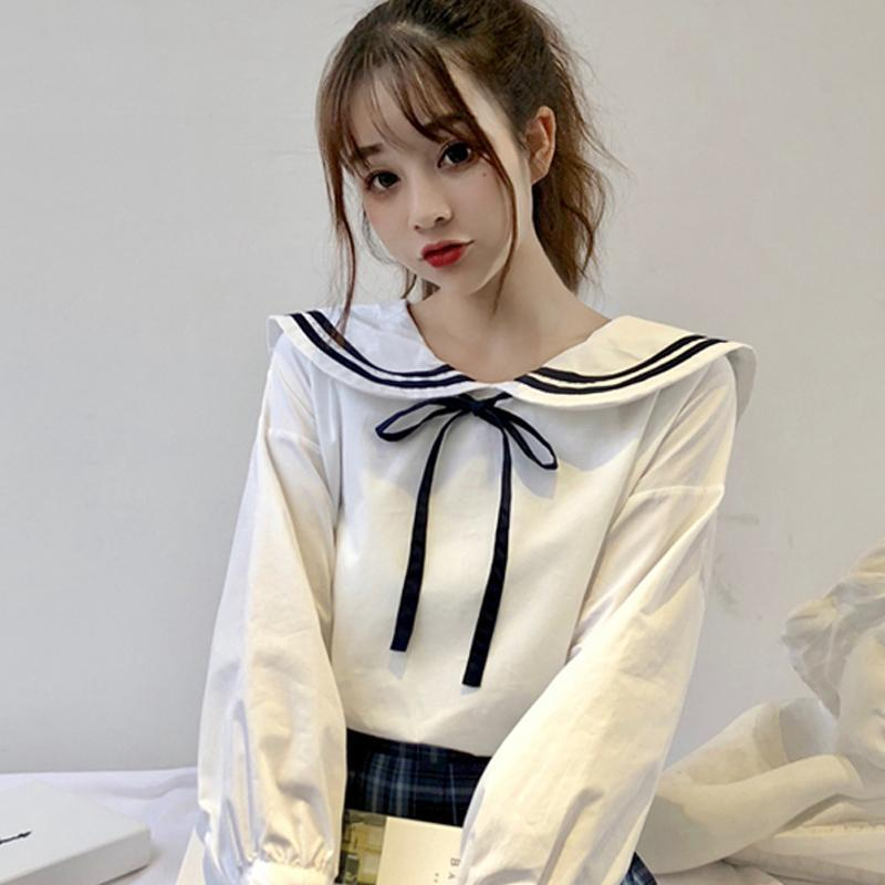 Modakawa Shirt School Girl Navy Collar Shirt