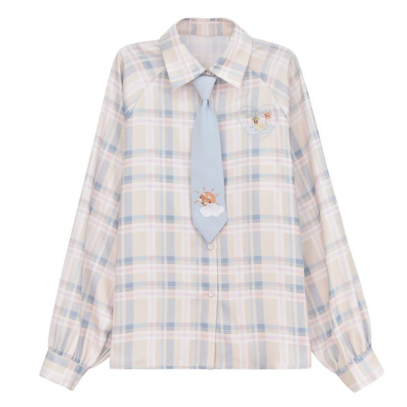 Modakawa Shirt Shirt / S Cartoon Embroidery Plaid Tie Shirt Vest Sweater Two Piece