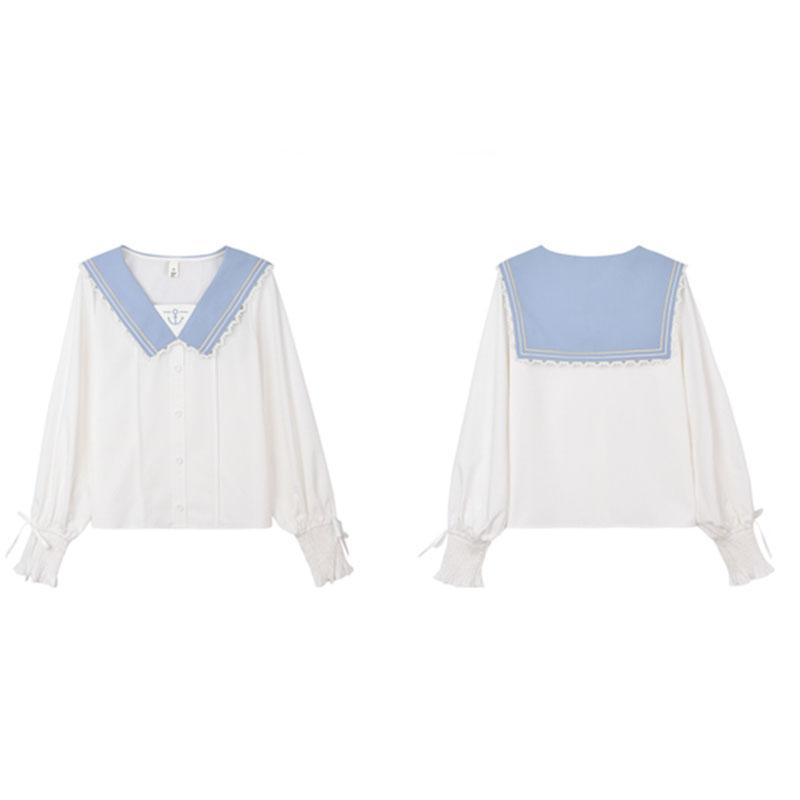 Modakawa Shirt Sweet Sailor Collar Ruffle Bow Chiffon Shirt