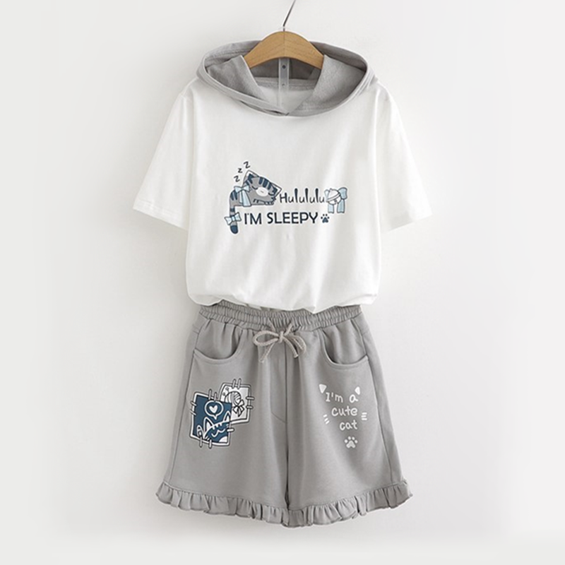 Modakawa Shirt T-shirt + S Size Shorts Sleepy Cat Print Top Ruffle Shorts Two Piece Set