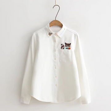Modakawa Shirt Thick / S Cartoon Fox Embroidery White Shirt