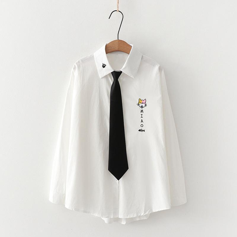 Modakawa Shirt White A / One Size Cute Kitty Embroidery Tie Shirt Blouse