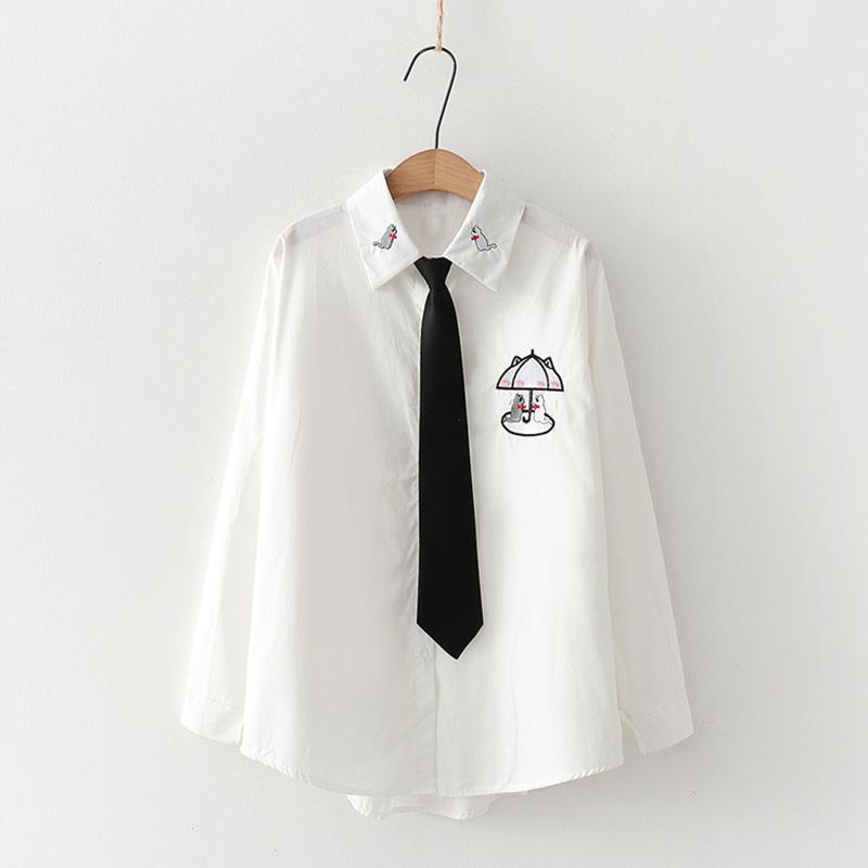 Modakawa Shirt White B / One Size Cute Kitty Embroidery Tie Shirt Blouse