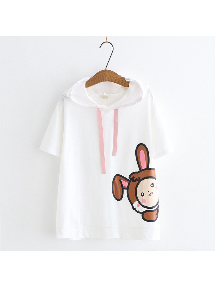 Modakawa Shirt White Cartoon Short Sleeve Hoodie