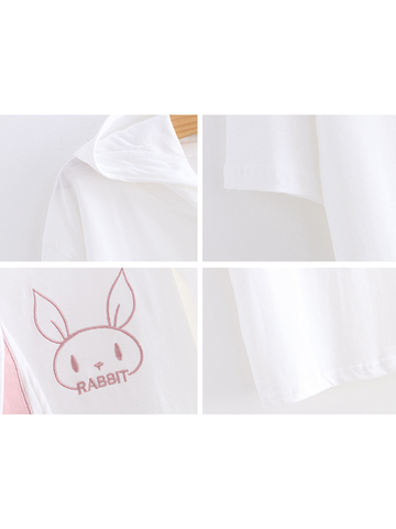 Modakawa Shirt White Kawaii Bunny Short Sleeve Hoodie