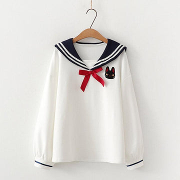 Modakawa Shirt White / One Size College Style Sailor Collar Bow Shirt