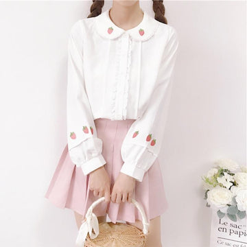 Modakawa Shirt White / One Size Strawberry Embroidery Doll Collar White Shirt