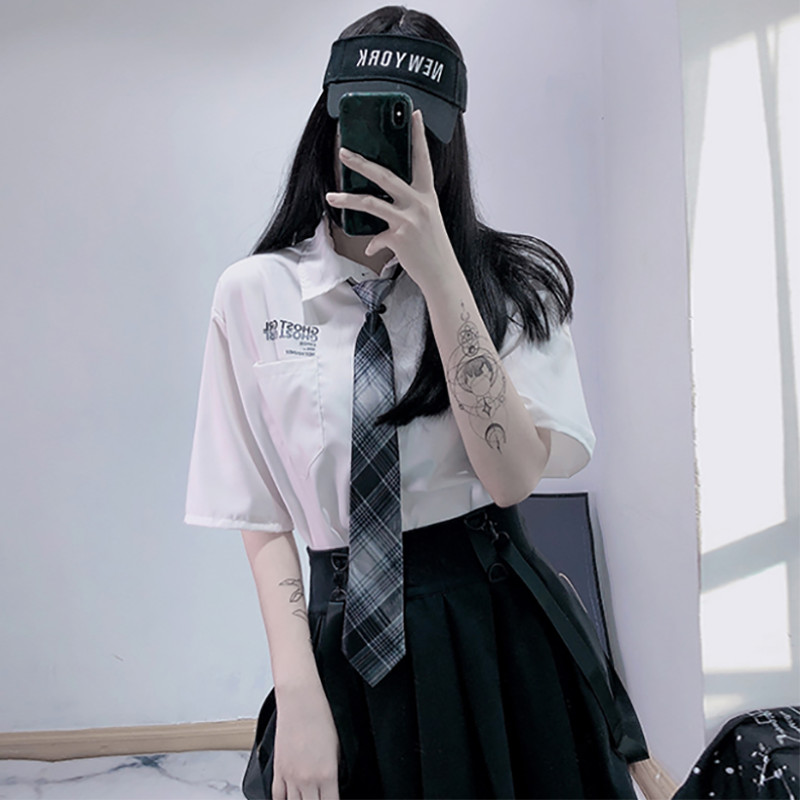 Modakawa Shirt White + Plaid Tie / S GHOST GIRL Letter Print Pocket Plaid Tie Shirt