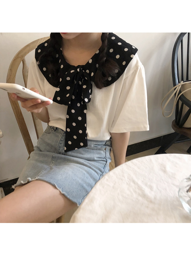 Modakawa Shirt White Polka Dot Bow T-Shirt