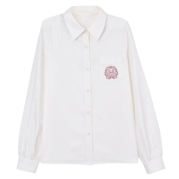 Modakawa Shirt White / S School Cartoon Bear Embroidery Pocket Collar Shirt