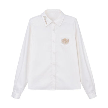 Modakawa Shirt White / S School Collar Letter Badge Embroidery Pocket Shirt