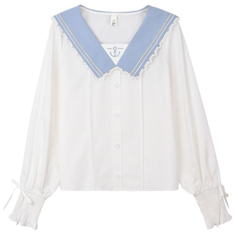 Modakawa Shirt White / S Sweet Sailor Collar Ruffle Bow Chiffon Shirt