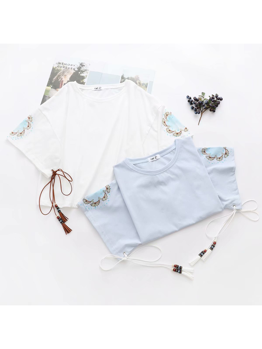 Modakawa Shirt White Tassels Fishes Loose T-shirt