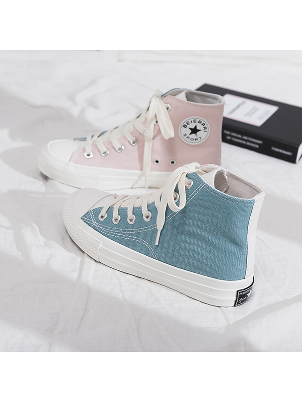 Modakawa Shoes 35 / Blue + Pink Color Block High Top Canvas Shoes