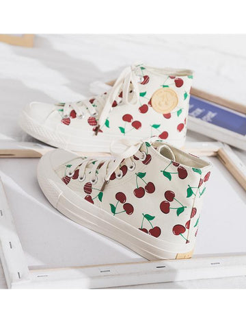 Modakawa Shoes 35 Cherries Print High Top Casual Shoes