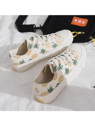 Modakawa Shoes 35 Pineapple Print Low Top Casual Shoes