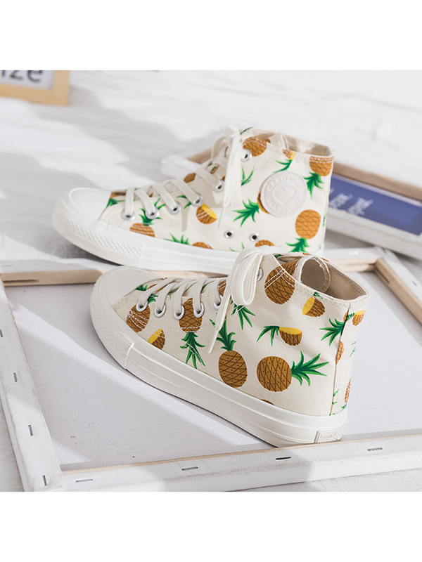 Modakawa Shoes 35 / Pineapple Strawberry Pineapple Print High Top Casual Shoes