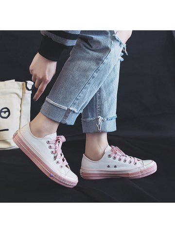 Modakawa Shoes 35 / Pink Kawaii Love Forever Letter Canvas Shoes