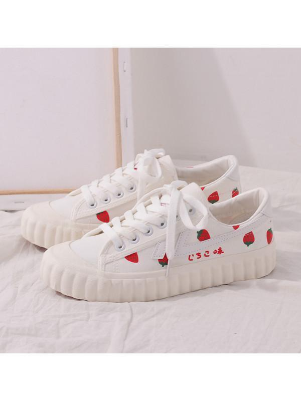 Modakawa Shoes 35 Strawberry Print Breathable Casual Shoes