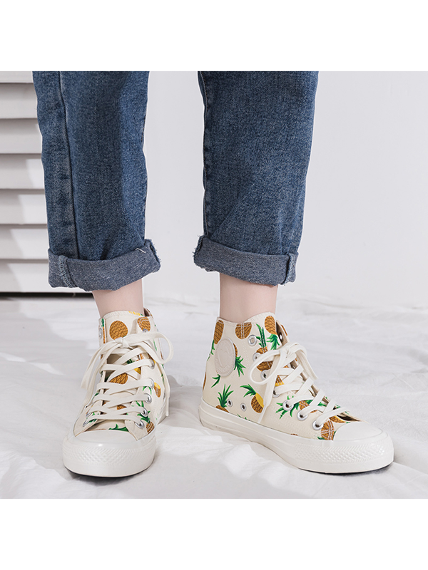 Modakawa Shoes 35 / Strawberry Strawberry Pineapple Print High Top Casual Shoes