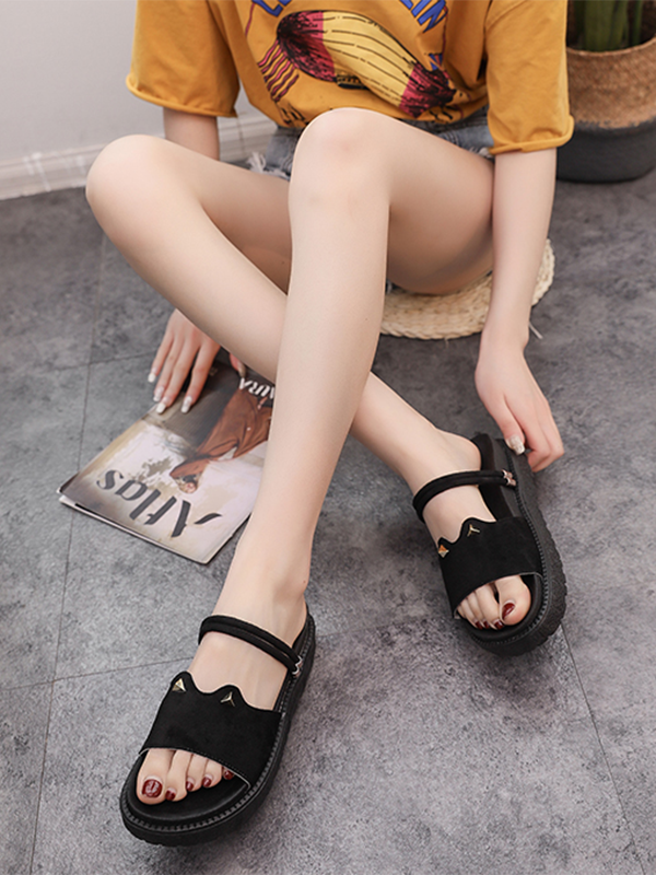 Modakawa Shoes Apricot / 35 Cat Ears Flatform Sandals Shoes