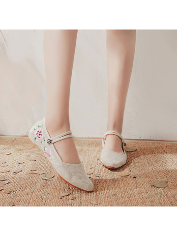 Modakawa Shoes Beige / 35 Vintage Embroidery Flats Shoes Buckle Pointed Toe