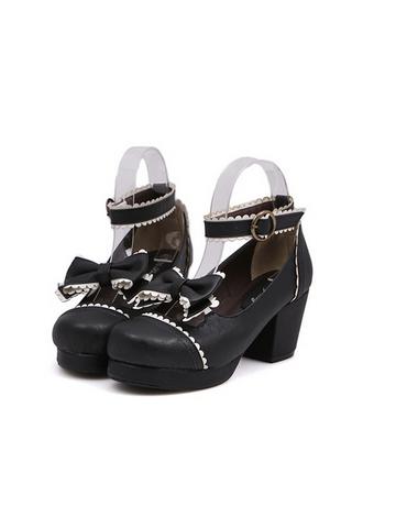 Modakawa Shoes Black / 35 Kawaii Bow Platform Dress High Heeled Shoes