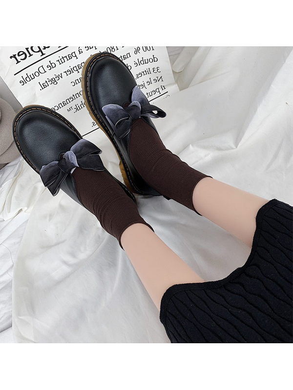 Modakawa Shoes Black / 35 Mori Girl Bow-Knot Flat Leather Shoes