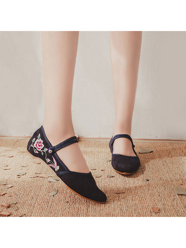 Modakawa Shoes Black / 35 Vintage Embroidery Flats Shoes Buckle Pointed Toe