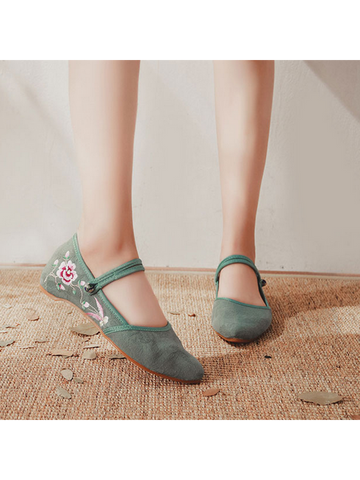Modakawa Shoes Green / 35 Vintage Embroidery Flats Shoes Buckle Pointed Toe