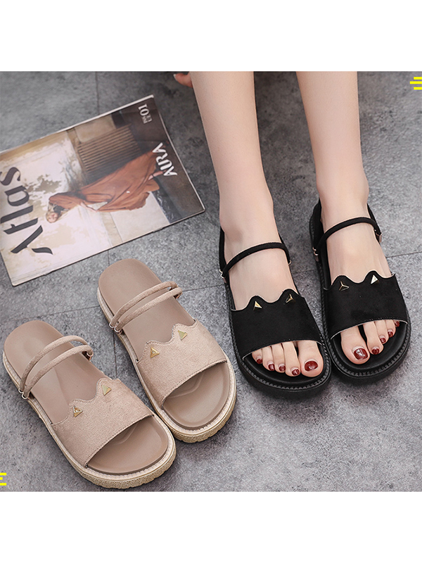 Modakawa Shoes Light Brown / 35 Cat Ears Flatform Sandals Shoes