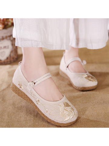 Modakawa Shoes Pink / 35 Vintage Embroidered Flats Linen Shoes Flower Buckle Casual