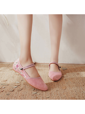 Modakawa Shoes Pink / 35 Vintage Embroidery Flats Shoes Buckle Pointed Toe