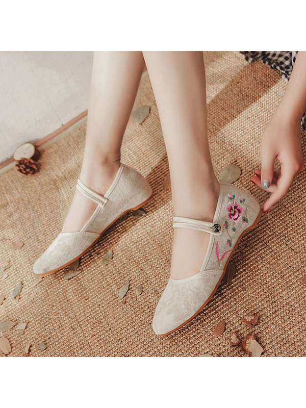 Modakawa Shoes Pink / 35 Vintage Embroidery Flats Height Increase Insoles Shoes