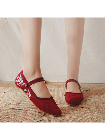 Modakawa Shoes Red / 35 Vintage Embroidery Flats Shoes Buckle Pointed Toe