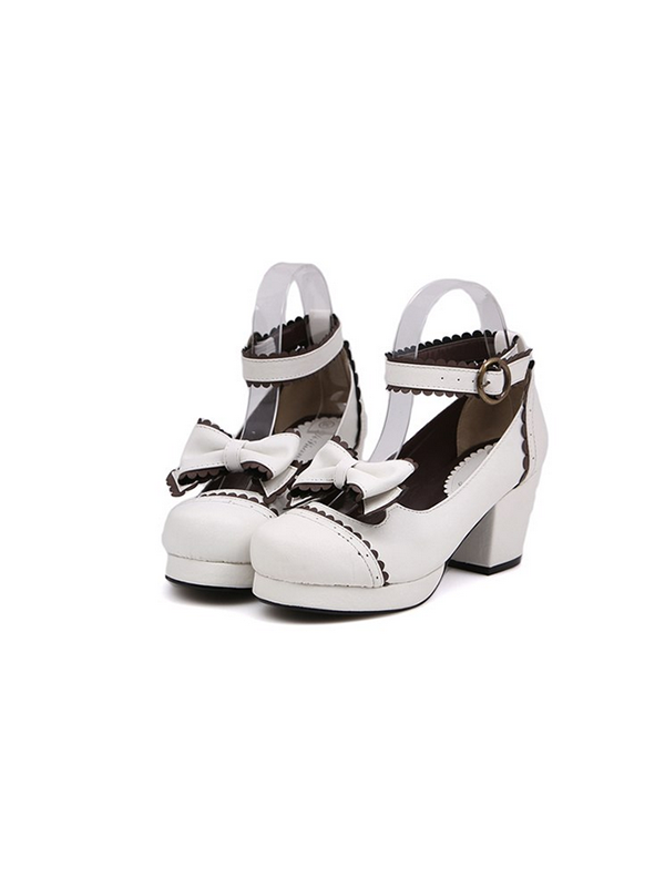 Modakawa Shoes White / 35 Kawaii Bow Platform Dress High Heeled Shoes