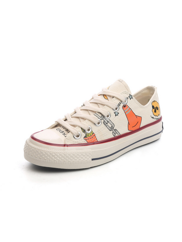 Modakawa Shoes White + Red / 35 Cute Cartoon Print Causal Canvas Shoes