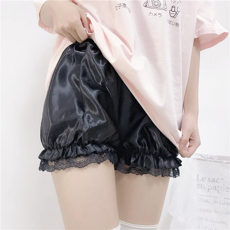 Modakawa Shorts Black Lace / One Size Lolita Ruffle Plush Lace Shorts