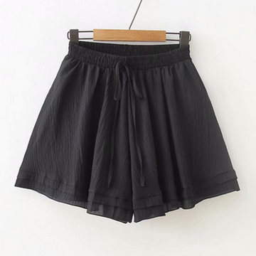 Modakawa Shorts Black Pure Color Chiffon Shorts