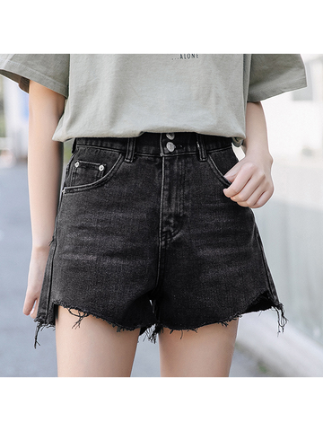 Modakawa Shorts Black / S Denim Shorts High Waist Black Irregular Hem Loose