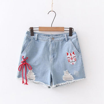 Modakawa Shorts Blue / M Cat Embroidery Lace Up Denim Shorts