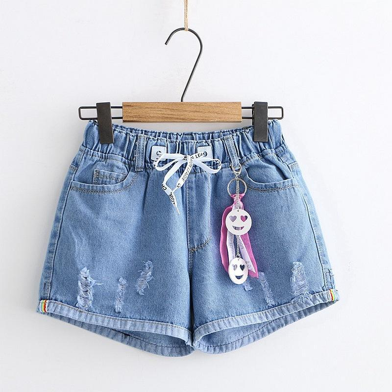Modakawa Shorts Blue / M Letter Drawstring Elastic Waist Denim Shorts