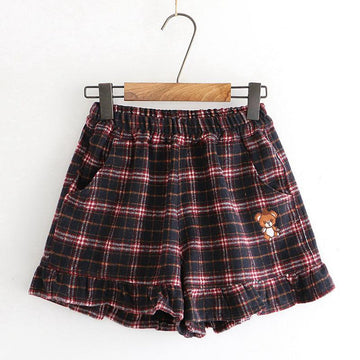 Modakawa Shorts Blue / M Little Bear Plaid Ruffle Elastic Waist Shorts
