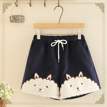 Modakawa Shorts Blue / One Size Cute Rabbit Cartoon Shorts Elastic Waist Drawstring