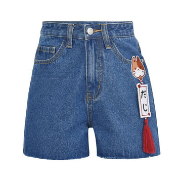 Modakawa Shorts Blue / S Japanese Cat High Waist A-line Denim Shorts